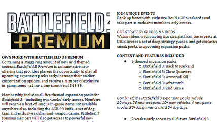 Battlefield 3 Premium Fact Sheet Leaked